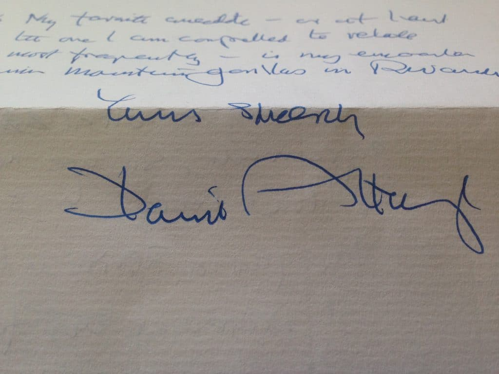 A letter from Sir David Attenborough to Whitehouse Cox