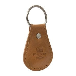 1005 Handmade Leather Keyring Tan Red