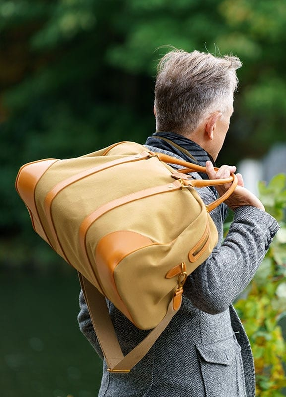The british made Whitehouse Cox Mountbatten Holdall sported by David Evans of The Grey Fox Blog