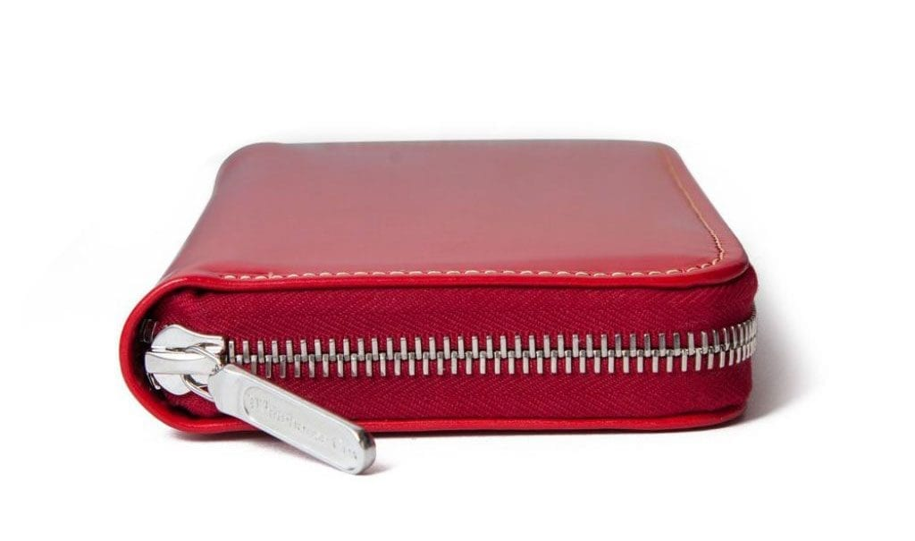 red bridle leather purse